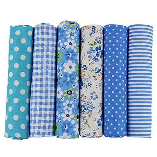 UOOOM 6pcs 50x 50cm, diseño de retales algodón Tejido DIY hecho a mano Costura Quilting tela diseños diferentes (Azul)