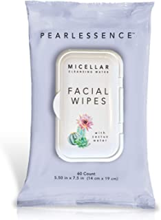 Micellar Cleansing Facial Makeup Remover Wipes w/ Cactus Water, 60 Count (1 Pack)