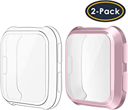QIBOX Screen Protector Case Compatible Fitbit Versa (2-Pack), All-Around Protective Screen Cover Bumper Shell Soft TPU Plated Case Compatible Fitbit Versa Smartwatch [New Version]