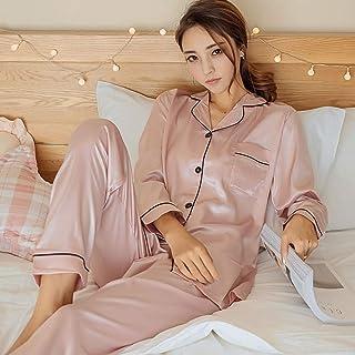 LIXIAOLAN Pijamas De Seda para Mujer Pijamas Pijamas Conjunto De Manga Larga Ropa De Dormir Pijamas Traje Hembra Dormir Dos Piezas,b,XL