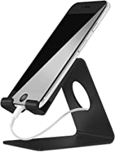 ELV Desktop Cell Phone Stand Tablet Stand, Aluminum Stand Holder for Mobile Phone and Tablet (Up to 10.1 inch) - Black