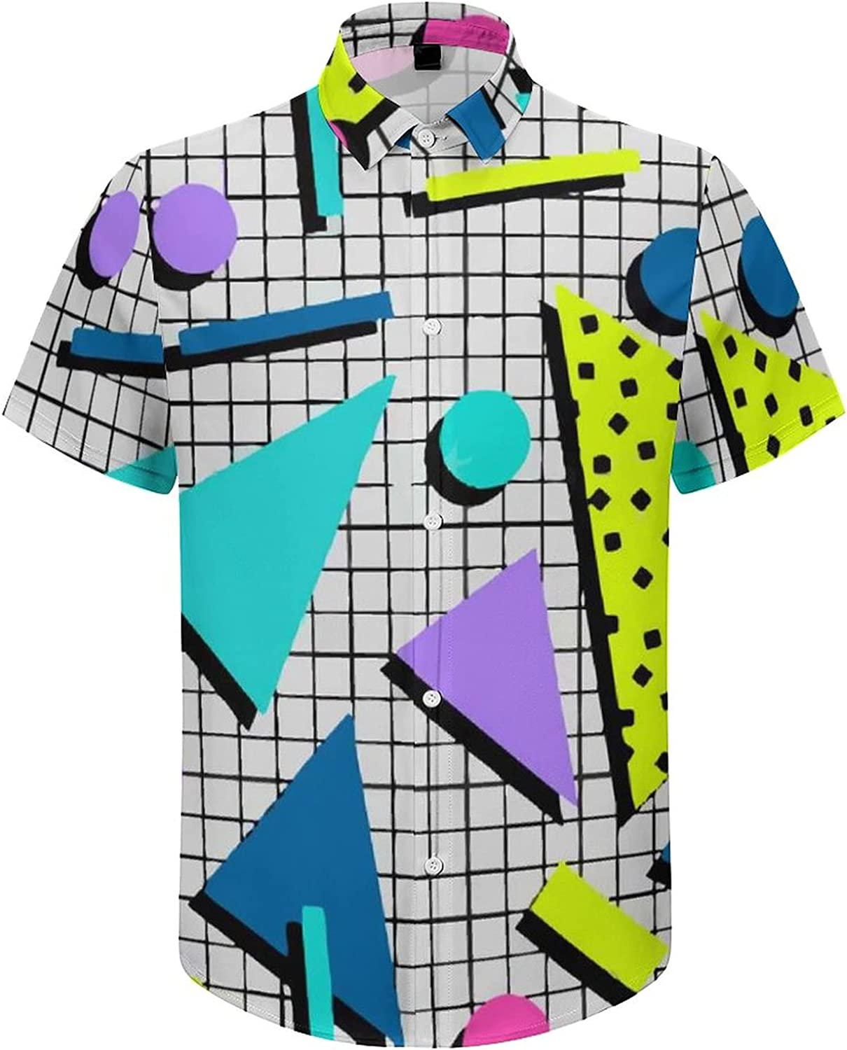 Men's Regular-Fit Short-Sleeve Printed Party Holiday Shirt 80s Memphis 90s Pattern