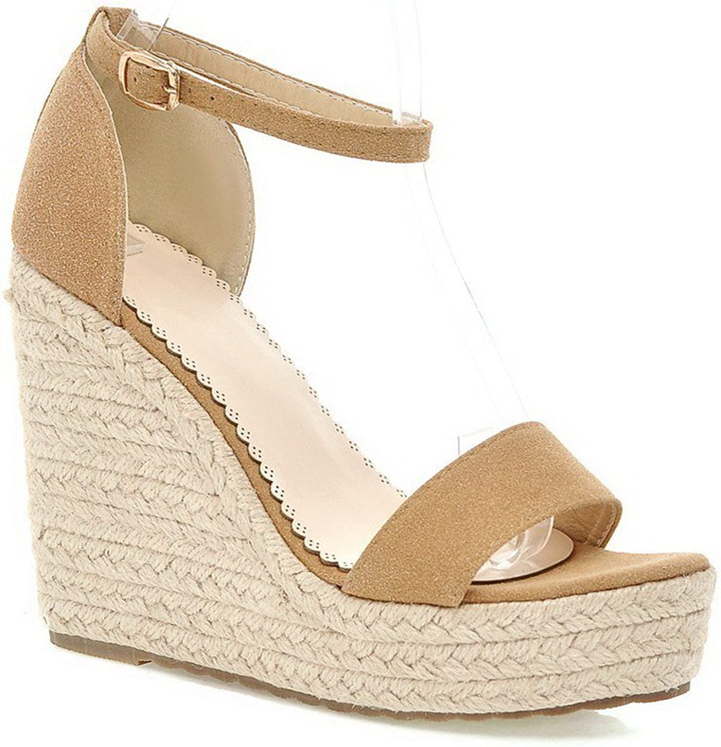 AmoonyFashion Women's Imitated Suede Solid Buckle Open Toe High Heels Sandals