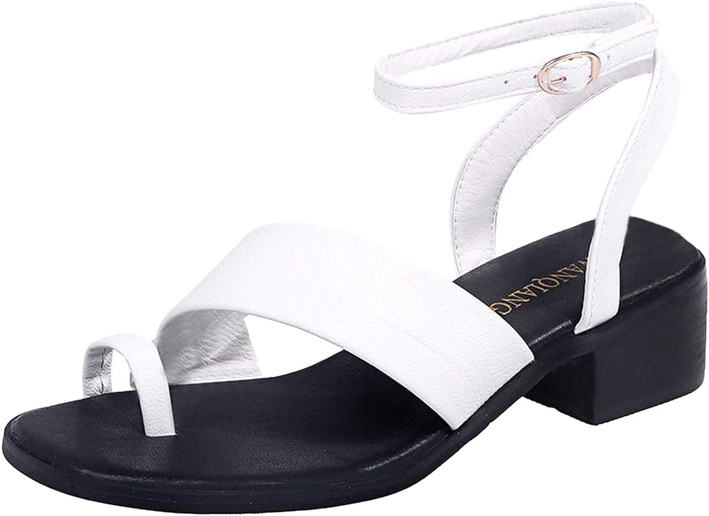 Womens Summer Flat Sandals Gladiator Ankle Buckle Strap Crisscross Toe Ring Leather Beach Flip Flops