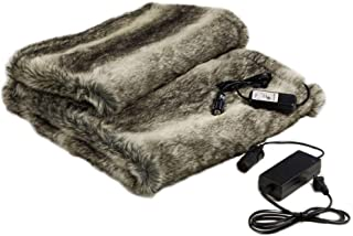 Faux Fur Cozy Heated Throw Blanket for Home and Auto (58 x 36) with Patented Safety Timer - coolthings.us