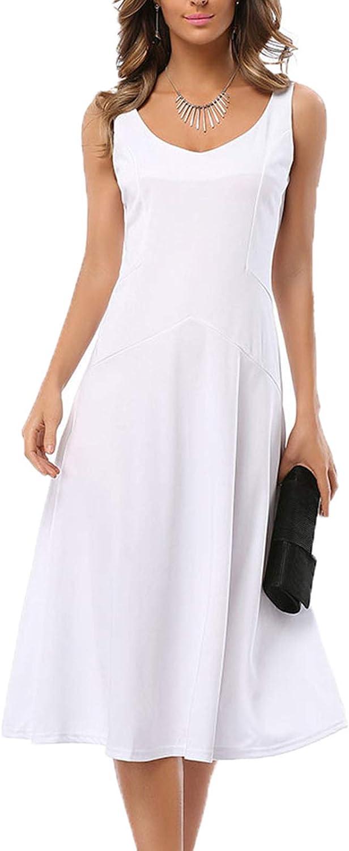 Jasmin Women's Elegant Party Dress Sleeveless A-line Knee Work Swing White Dresses