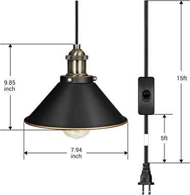 DEWENWILS Pendant ORB Plug in Hanging Light, Indoor Ceiling Light for Kitchen Living Room, Bedroom, Dinning Hall, 15FT Adjustable Cord with On/Off Switch,Pack of 2