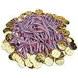 Onepine 100 Pièces Médailles Or en Plastique Medaille pour Enfants Médailles Olympique, Médailles du Parti (100 Pièces)
