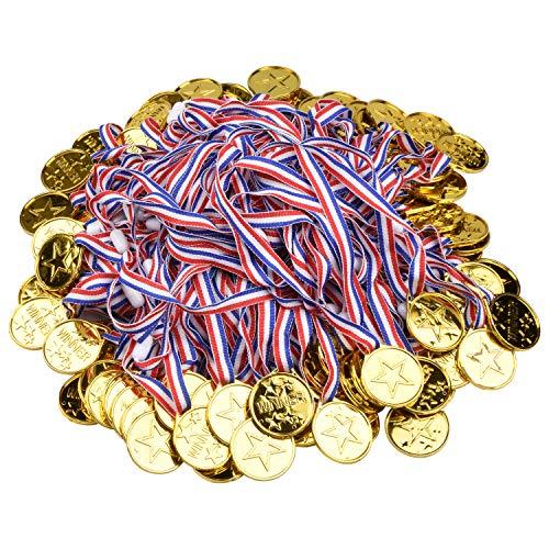 Onepine 100 Pezzi Medaglie Plastica Winners Medaglie per Bambini,Oro Medaglie di Vincitore (100 Pezzi)