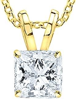 1/2 Carat GIA Certified Solitaire Princess Cut Diamond Pendant (0.5 Ct D-E Color, VVS1-VVS2 Clarity) w/Gold Chain