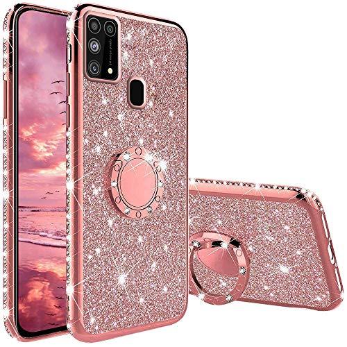 Funda para Samsung Galaxy M31, Glitter Brillante Diamante con 360 Grado Anillo Kickstand Ultra Delgada Premium Fina Resistente Silicona TPU Doble Capa Anti Choques Protectora Carcasa - Rosa