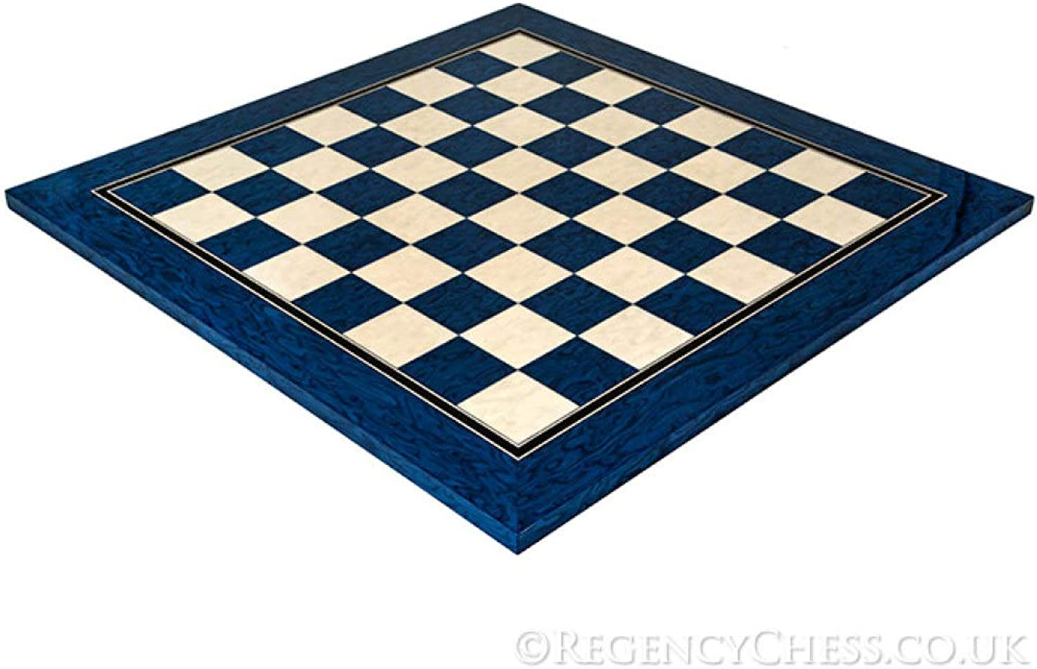 19.7 Inch Lacquered bluee Erable and Maple Deluxe Chess Board