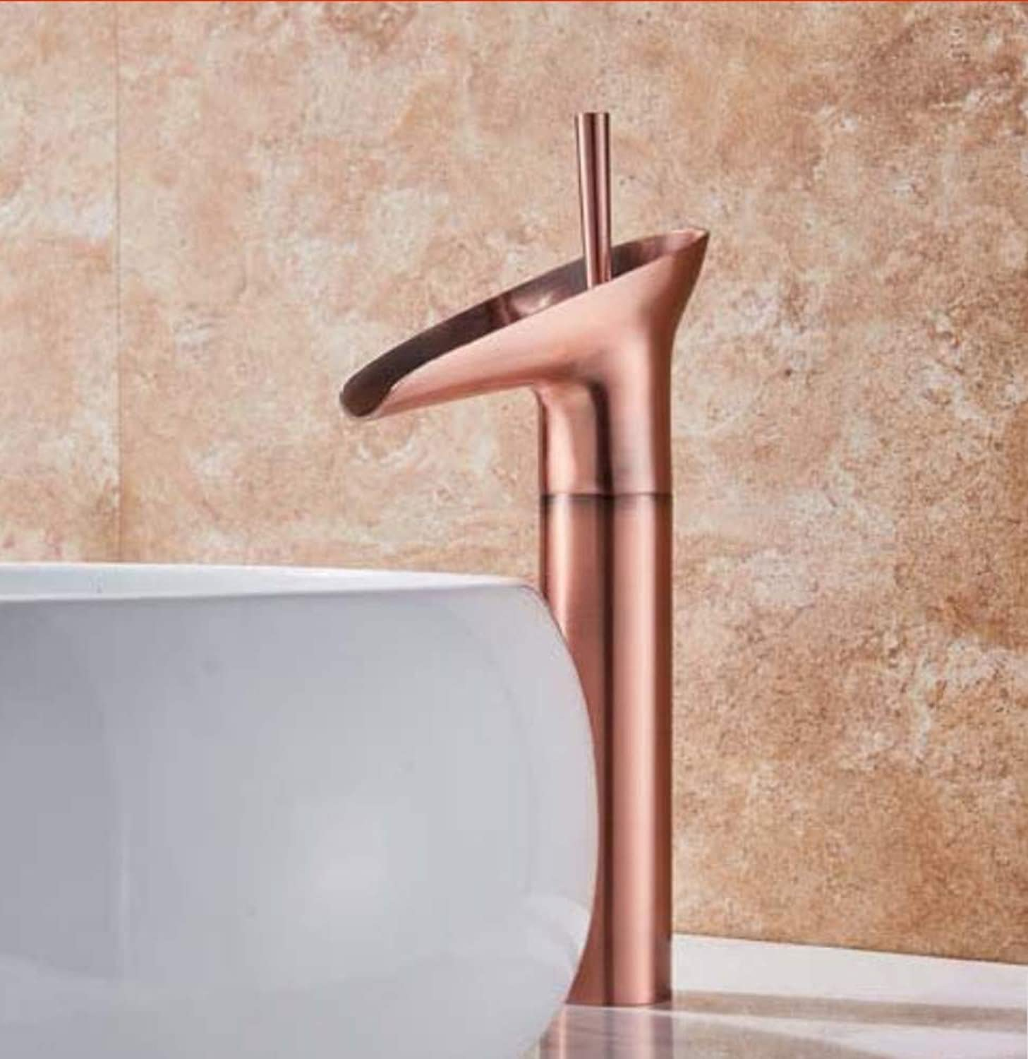 Water Tap golden Waterfall Spout Basin Faucet Deck Mounted Single Handle Bathroom Vessel Sink Mixer Tap One Hole Hot Cold Water Tap