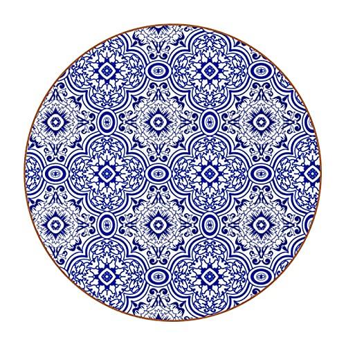 Azul Azulejo geométrico patrón de flores 4.7.6 cm posavasos grandes, anti-manchas, vidrio anti-arañazos y antideslizante, un juego de 6 absorbentes