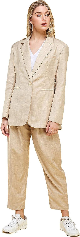 Womens Boyfriend Fit Oversized Blazer and High Waist Trouser Suit Set