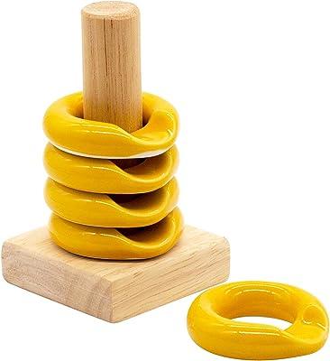 波佐見焼 康創窯 箸置き Ringレスト 5個セット 木製スタンド付木箱入 イエロー 01112062