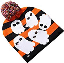 PanDaDa Halloween Glowing Knit Cap Pumpkin Ghost Child Adult Hat for Decoration Party Supplies