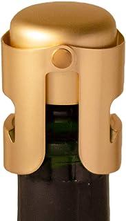 Gold Champagne Stopper, Designed in France, Bottle Sealer for Cava, Prosecco, Sparkling Wine, Gold Plated, No Sharp Edge, ...