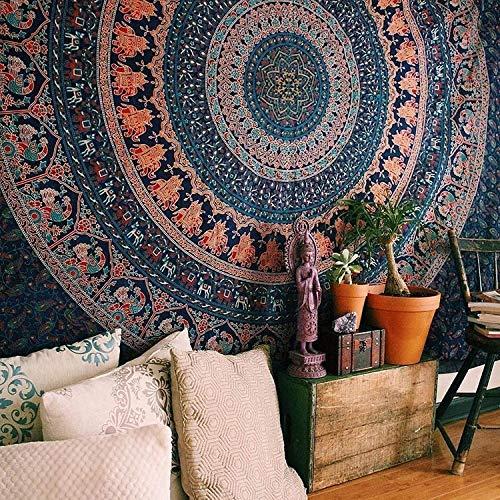 WERT Decoración para el hogar Sol Mandala Tapiz Tela para Colgar en la Pared Sala de Estar Fondo Pared Yoga Toalla de Playa Estera A10 95x73 cm