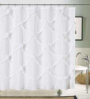 DOSLY IDÉES White Ruffle Fabric Shower Curtain for Bathroom,Mermaid Pattern,Farmhouse,Country Rustic,Cute,Washable and Wat...
