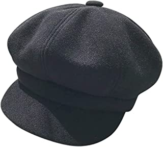 🍀LIULIULIU🍀Vintage British Style Solid Casual Flat Beret Octagonal Cap Hairy Beret Hat Crochet Newsboy Ivy Hat (H)