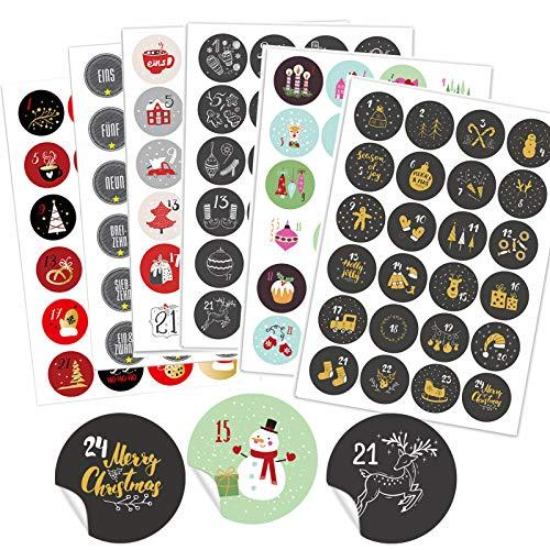 Gallop Chic 6 x 24 Verschiedene Adventskalender Zahlen Aufkleben - 24 Sticker Nummern Aufkleber für Weihnachten zum Selber Basteln und Dekorieren, Runde Weihnachtskalender Zahlenaufkleber 40 mm