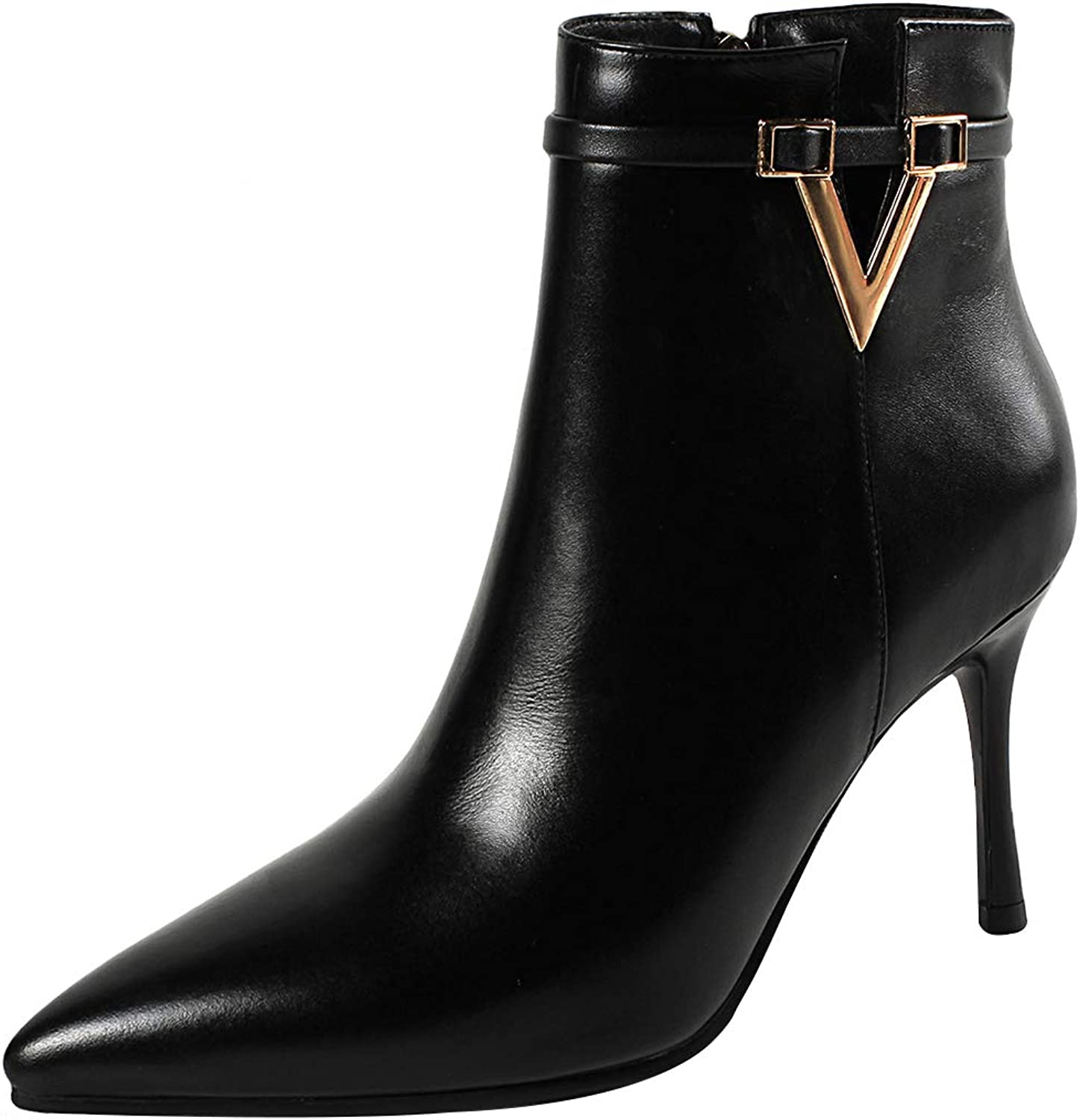 Eithy Women's Shaboa Stiletto Ankle-high Zipper Leather Boots