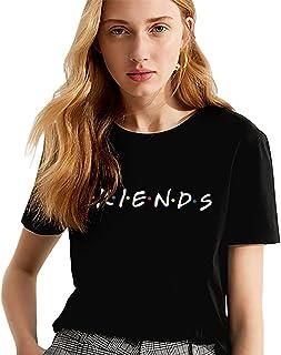 Shirt Logo TV Best Friend per Donna 100% Cotone Stampa T-Shirt TV Show Serie Fan Manica Corta Bianco Estate Maglietta Lettera Regalo di Compleanno Elegante