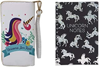 Unicorn Ladies Wallet with Unicorn Notes Holographic Spiral Journal Set for Girls and Women - White