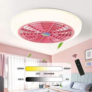 Dagea Atenuación LED Ventilador de Techo con iluminación Moderno Lámpara de Techo, Control Remoto Regulable, Creatividad Ultra silencioso Luces del Ventilador para Dormitorio Sala Lámpara,Rosado