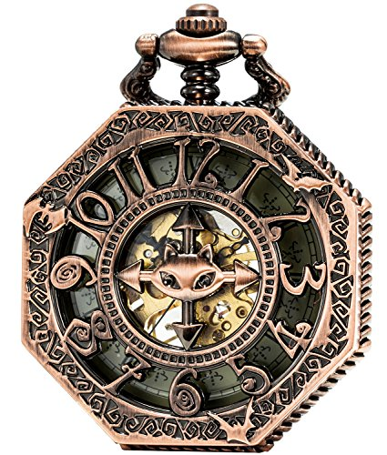SEWOR Octagon Old School Estilo Hueca árabe números mecánica Mano Viento Reloj de Bolsillo (Cobre Rojo)