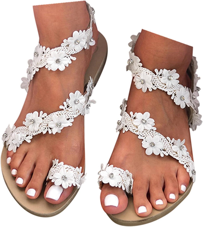 haoricu Women's Ring Toe Loop Slide Flat Sandals Bohemian Strappy Summer Beach Casual Wedding Bridesmaid Shoes