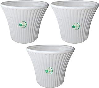 "Oshi Greens Round Plastic Flower Pot 10"" Diameter Pack of 3"