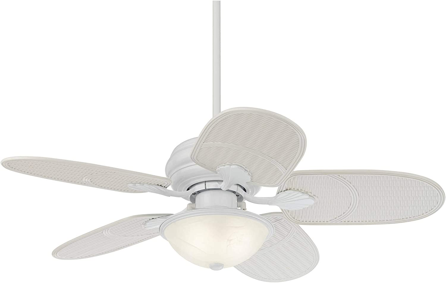Buy 42 Tropical Coastal Country Cottage Indoor Outdoor Ceiling Fan With Light Kit Led White Rattan Blades Frosted White Glass Wet Rated For Patio Exterior House Porch Gazebo Garage Barn Casa