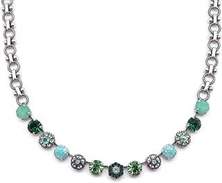 Mariana Fern Swarovski Crystal Silvertone Necklace Green & Green Opalescent Mix Mosaic M2143