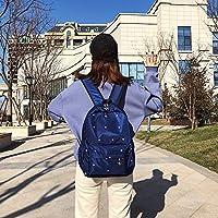 林小フットプリント柄防水オックスフォード布のショルダーバックパックカジュアルハンドバッグショルダーバッグ(ブラック) Chenhuis (Color : Navy Blue)