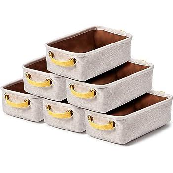 EZOWare 6 Pcs Caja de Almacenaje, Pequeñas Cestas Organizadoras de Tela Plegable con Manijas para Cajones, Armario, Oficina, Baño, Cocina y mas - 30.5 x 17.8 x 10.2 cm - Gris Claro y Amarillo: Amazon.es: Hogar