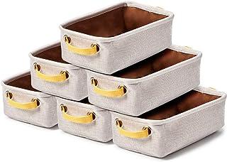 EZOWare 6 Pcs Caja de Almacenaje Pequeñas Cestas Organizadoras de Tela Plegable con Manijas para Cajones Armario Oficin...