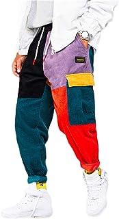 XINHEO Men's Hit Color Corduroy Cargo Pants Jogging Running Trousers
