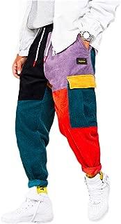 Mogogo Mens Jogging Splice Color Block Corduroy Loose Sports Pants