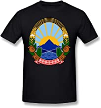 X-JUSEN Men's Coat Of Arms Of Former Yugoslav Republic Of Macedonia National Emblem Short-Sleeve Cotton T-Shirts Tee Top Blouse Pullover Sport Outwear