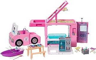 مركبة التخييم 3 في 1 Barbie 3-in-1 DreamCamper مع حمام سباحة وشاحنة وقارب و50 أكسسوارًا
