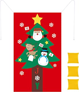 Christmas Toss Game Felt Christmas Tree Bean Bag Toss Game with 3 Pieces Snowballs Christmas Party Games for Christmas Party Favors