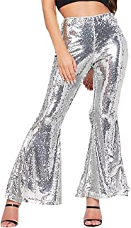 WSPLYSPJY Women's Bell Pants Glitter Sequin High Waisted Stretchy Bell Bottom Flared Pants