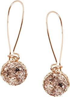 Humble Chic Simulated Druzy Threaders - Upside-Down Long Hoop Dangle Drop Earrings for Women