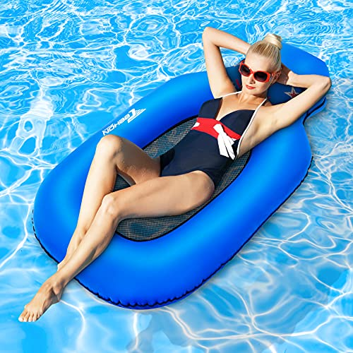TEEHON Pool Floats Inflatable Folaties, Floating Pool Lounger Chair Swimming Raft Lake Hammock Toys for Adults & Kids, Water Float, Floating Island Rafts, No Pump Required