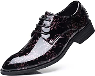 S.Y.M Men Shoes Men's Business Casual Leather Shoes Low Heel Lace Up Breathable Non-slip Printing British Style