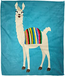 Emvency Decorative Throw Blanket 50 x 60 Inches Colorful Lama of Cute Llama with Peru Bolivian Cape on Back White Alpaca Animal Funny America Bolivia Warm Flannel Soft Blanket for Couch Sofa Bed