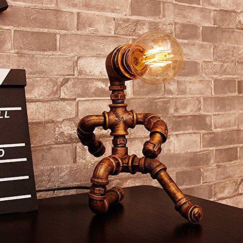 HOMEE Rétro Industrie Edison Plomberie Robot Lampe de Table, Salle d'Étude Bar Café Creative Fer d'eau Tube Bureau Lampe E27 Interface de Source de Lumière, Fer Forgé