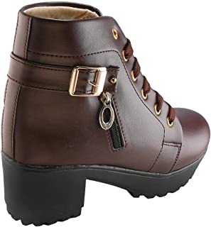 Legendary Style High Ankle Boots for Women Resonable (Dark-Maroon,38 EU/5 UK-IND)